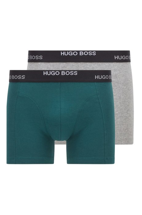 Two-pack of boxer briefs in stretch cotton, Light Green