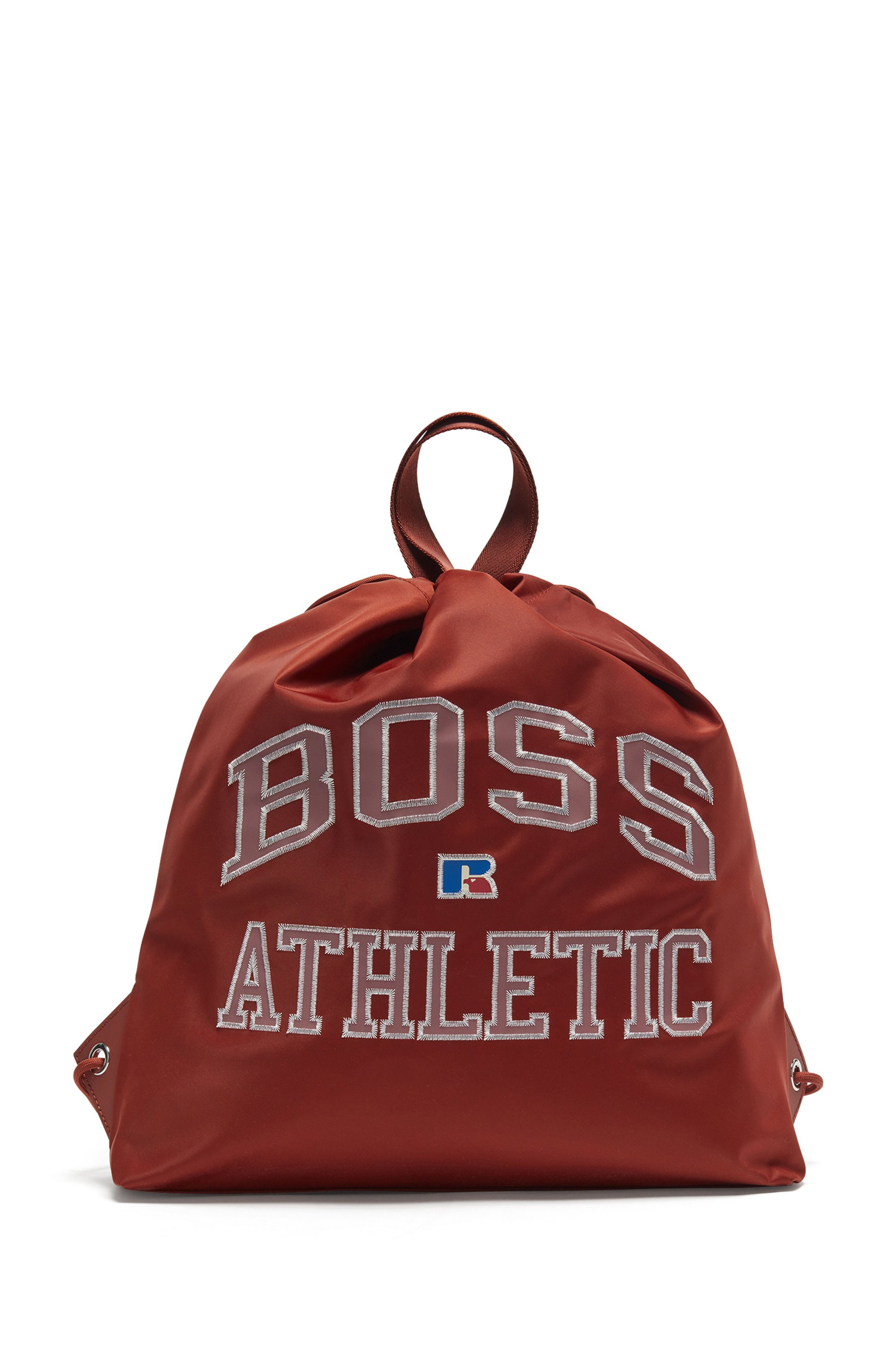 Drawstring bag in lightweight nylon with exclusive logo, Brown