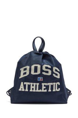 Tasche aus leichtem Nylon mit Tunnelzug und exklusivem Logo, Dunkelblau