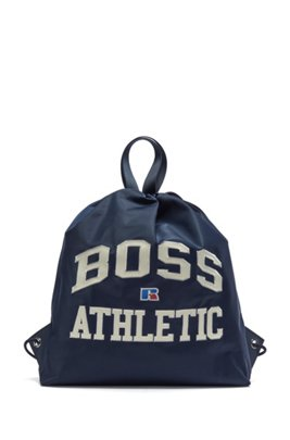 Drawstring bag in lightweight nylon with exclusive logo, Dark Blue