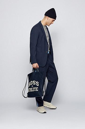 RUSSELL联名徽标图案装饰轻盈尼龙面料抽绳包,  410_Navy