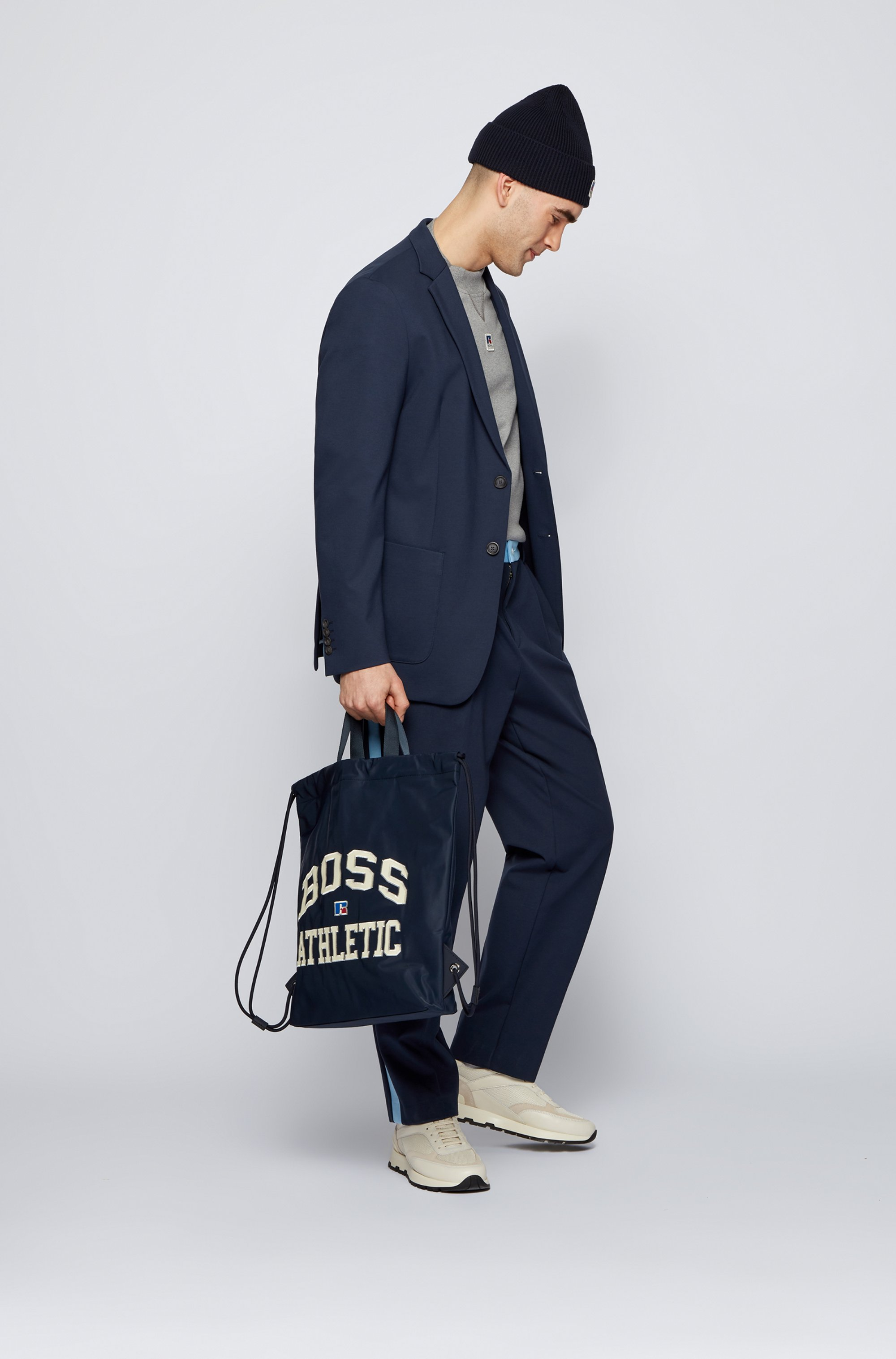 Drawstring bag in lightweight nylon with exclusive logo
