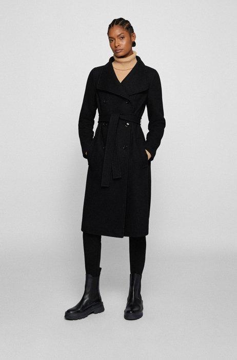 Hochgeschlossener zweireihiger Mantel aus Woll-Mix mit Twill-Struktur, Schwarz