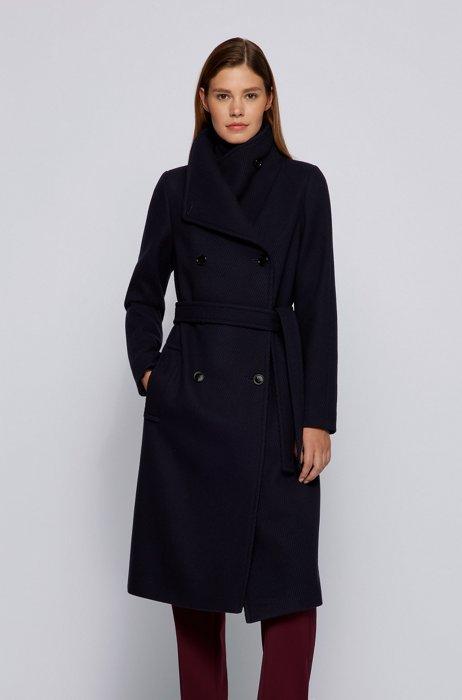 Hochgeschlossener zweireihiger Mantel aus Woll-Mix mit Twill-Struktur, Dunkelblau