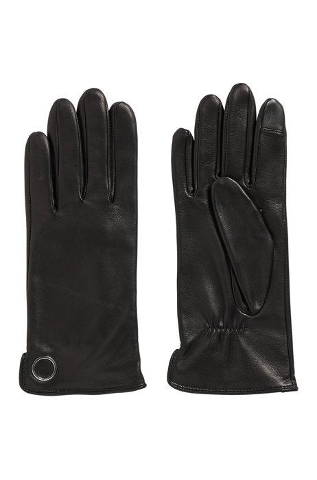 Gants entièrement doublés en cuir avec garniture en métal, Noir