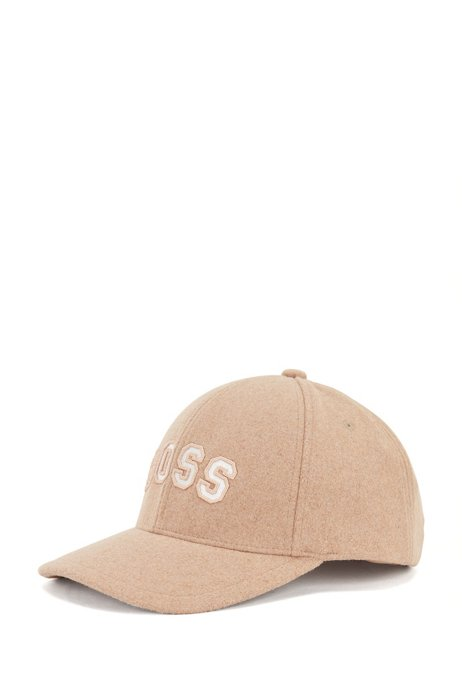 Logo cap in wool-touch twill, Light Brown