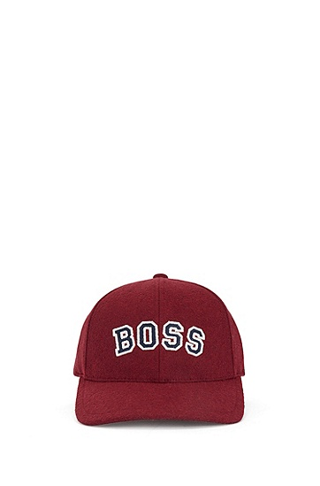 羊毛质感斜纹布徽标图案鸭舌帽,  602_Dark Red