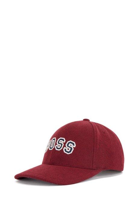 Logo cap in wool-touch twill, Dark Red