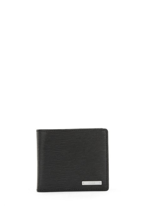 Italian-leather wallet with logo plate and coin pocket, Black