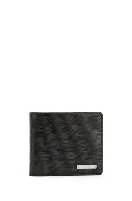 Italian-leather wallet with logo plate, Black