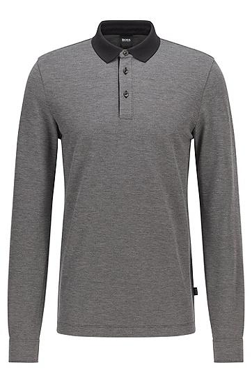 撞色衣领棉质珠地布 Polo 衫,  001_Black