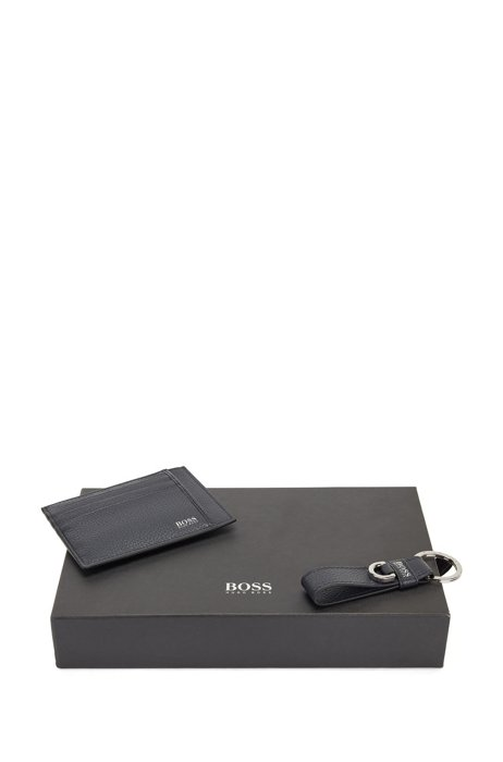 Leather key ring and card holder gift set, Dark Blue