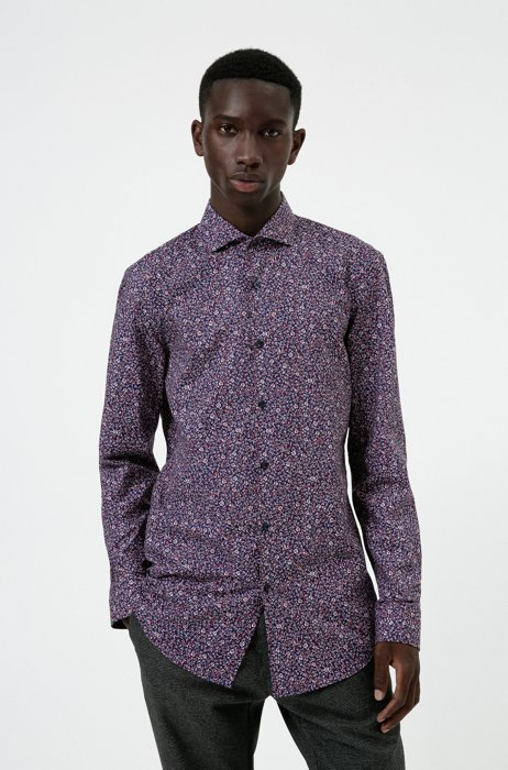 Slim-fit shirt in printed cotton canvas, Purple