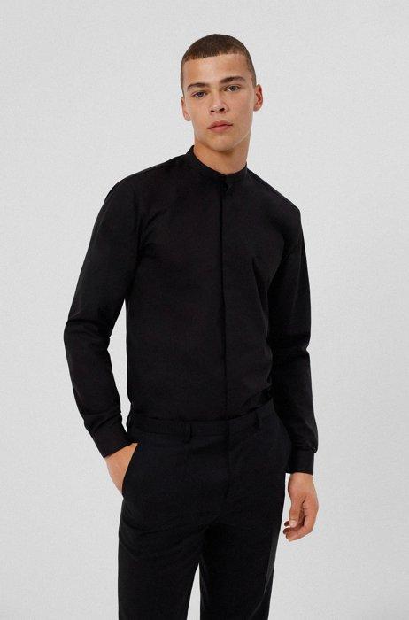 Easy-iron extra-slim-fit shirt in cotton poplin, Black