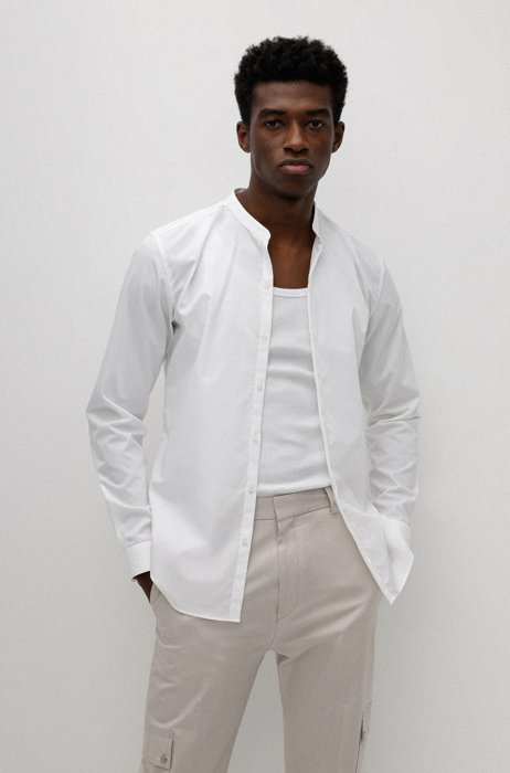 Easy-iron extra-slim-fit shirt in cotton poplin, White