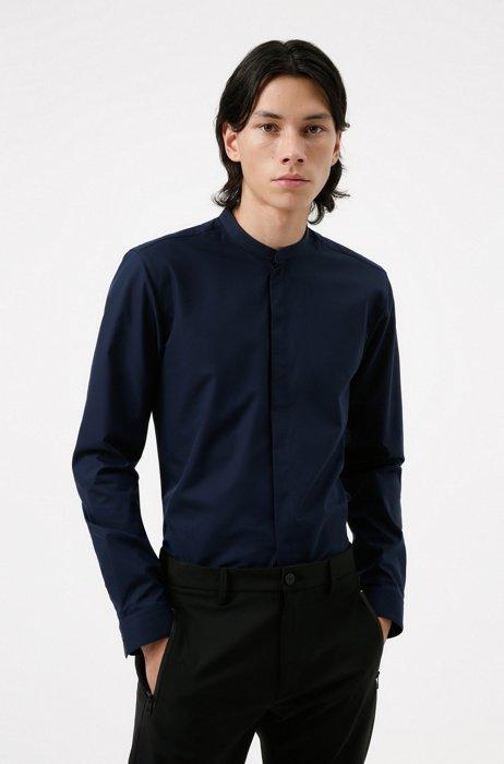 Easy-iron extra-slim-fit shirt in cotton poplin, Dark Blue
