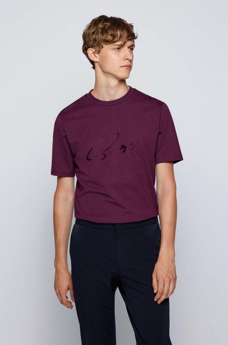 Logo-artwork regular-fit T-shirt in cotton jersey, Purple