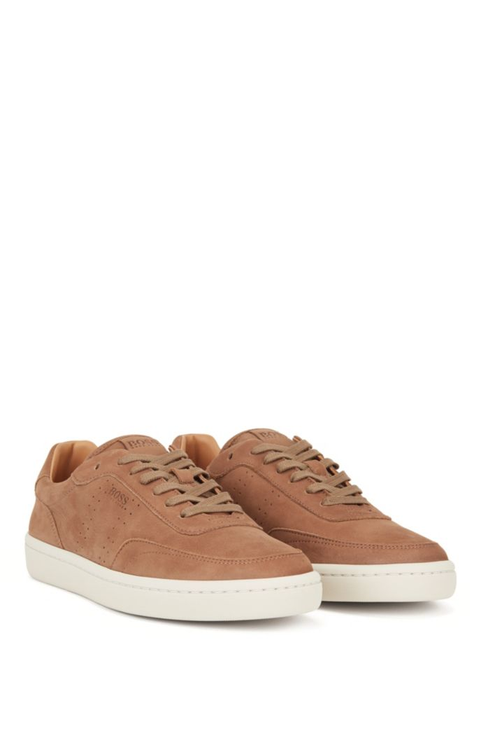 Tennis-inspired trainers in nubuck leather