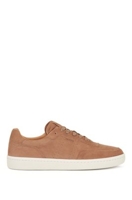 Tennis-inspired trainers in nubuck leather, Beige