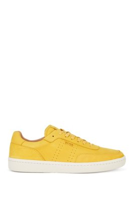 Tennis-inspired trainers in nubuck leather, Yellow