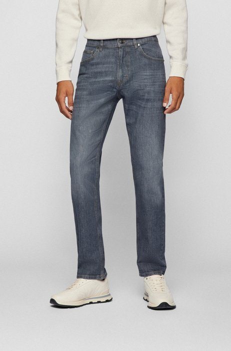 Relaxed-fit jeans in grey comfort-stretch denim, Grey