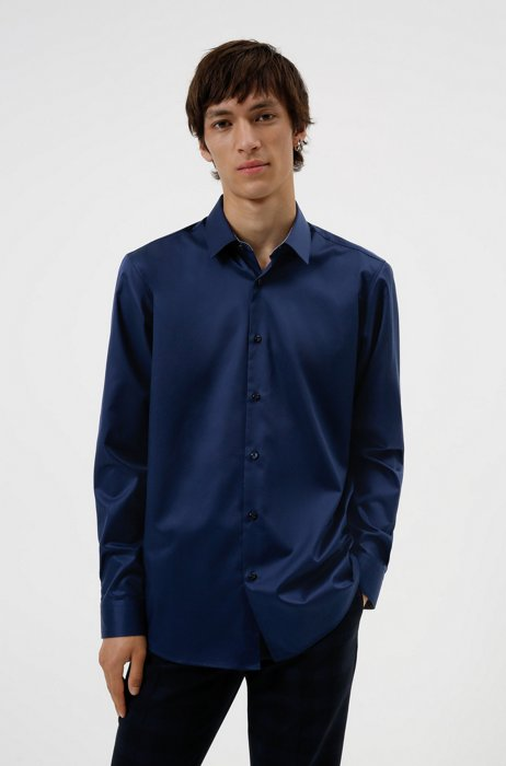 Regular-fit shirt in easy-iron cotton twill, Dark Blue