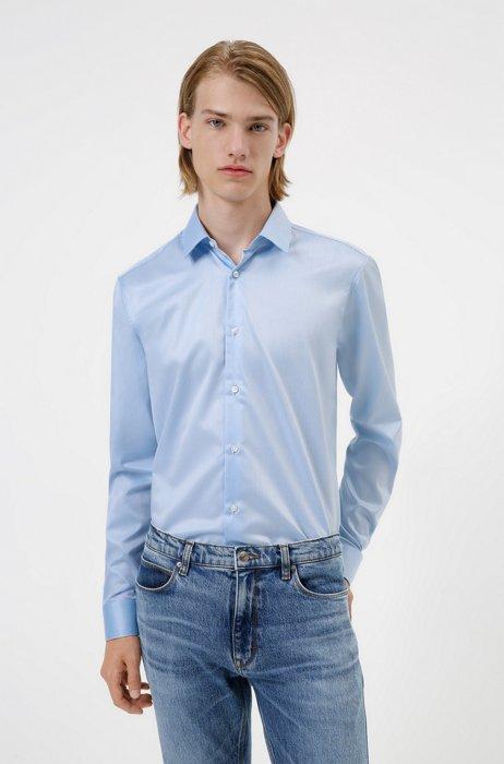 Regular-fit shirt in easy-iron cotton twill, Light Blue