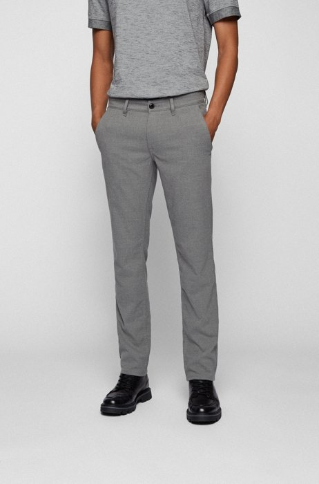 Slim-fit trousers in brushed stretch flannel, Grey