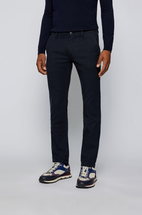 Slim-fit trousers in brushed stretch flannel, Dark Blue