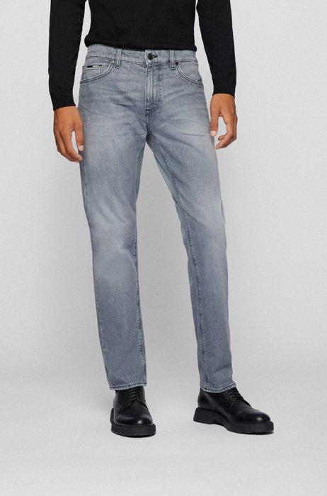 Regular-fit jeans in grey comfort-stretch denim, Light Grey
