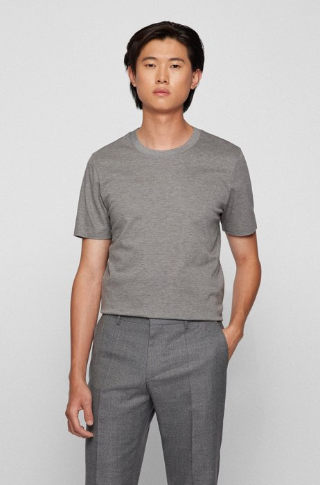 Slim-fit T-shirt van een biologische katoenmix, Grijs