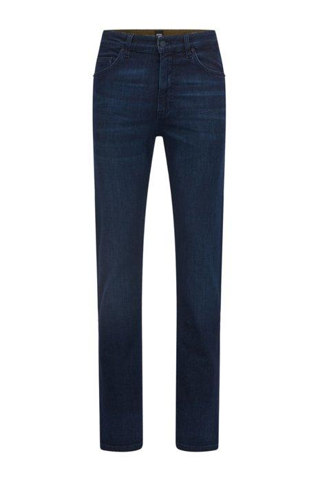 Relaxed-fit jeans in dark-blue cashmere-touch denim, Dark Blue