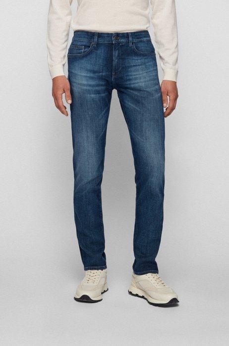 Slim-fit jeans in super-soft blue stretch denim, Blue