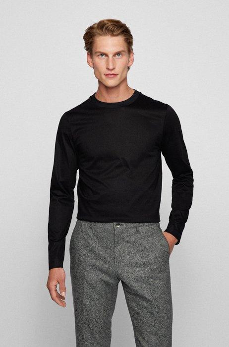 Slim-fit T-shirt met lange mouwen van gemerceriseerde katoen, Zwart