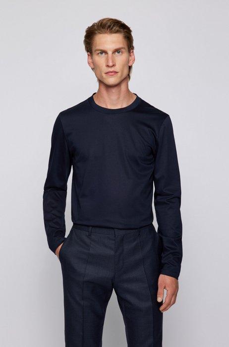 Slim-fit long-sleeved T-shirt in mercerised cotton, Dark Blue