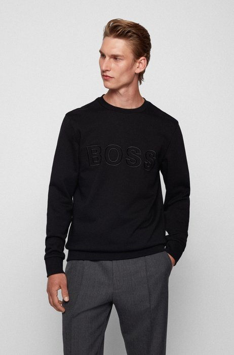 Logo sweatshirt in mercerised organic cotton, Black
