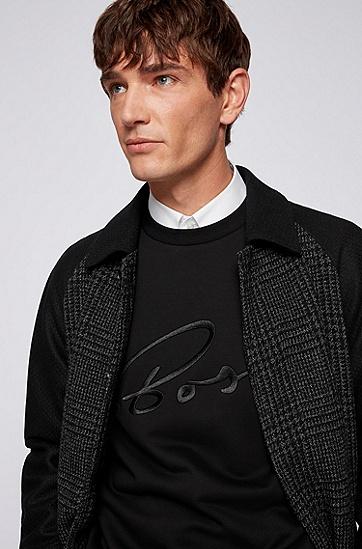 丝光棉质徽标装饰运动衫,  002_Black