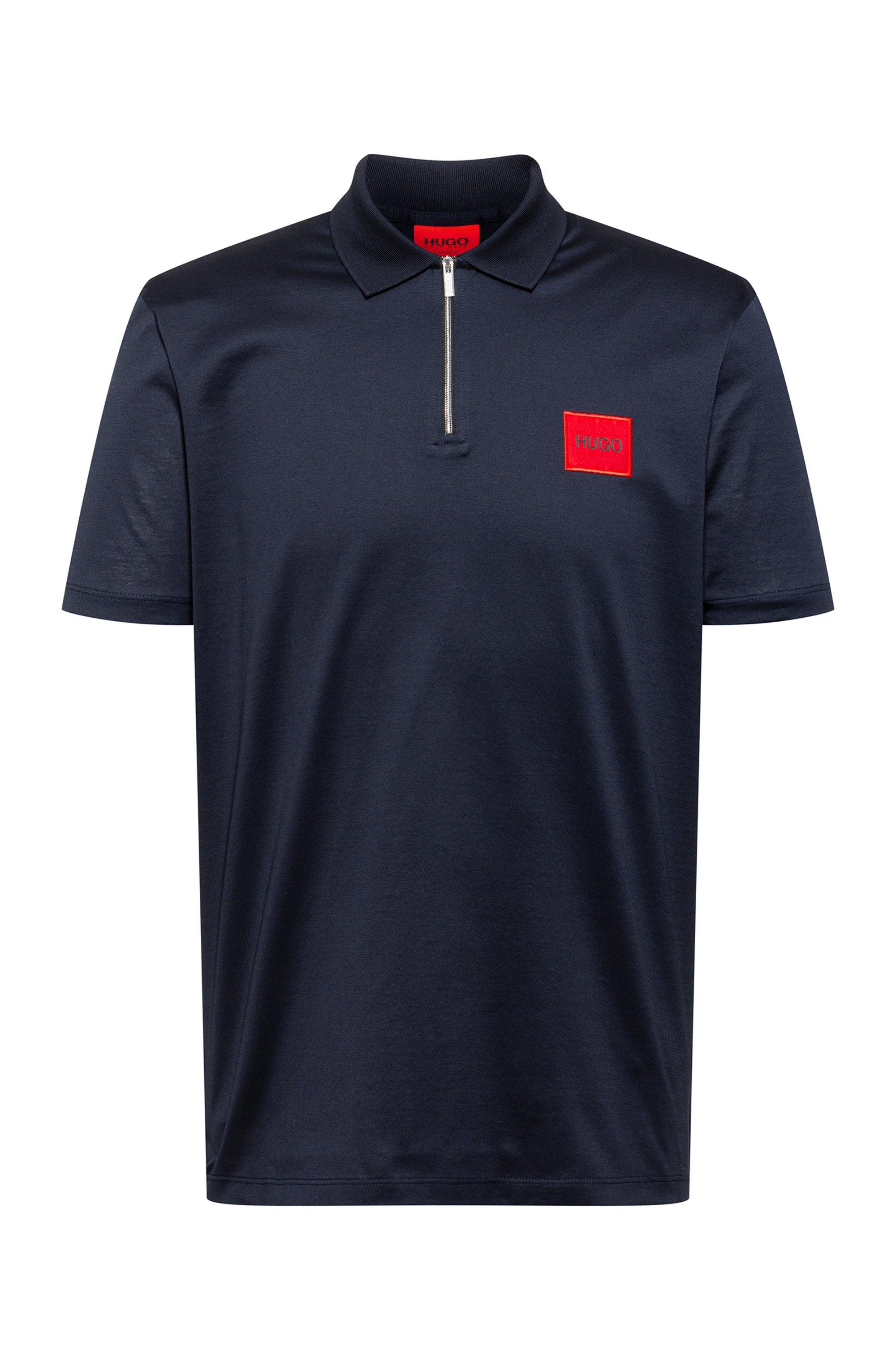 Polo en coton à encolure zippée avec étiquette logo rouge, Bleu foncé