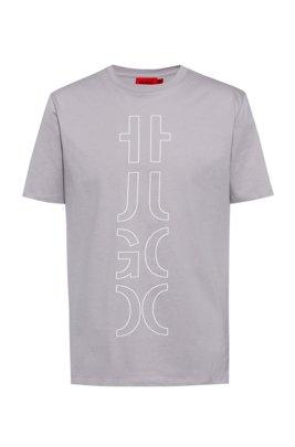 T-shirt en coton biologique à logo revisité, Gris chiné