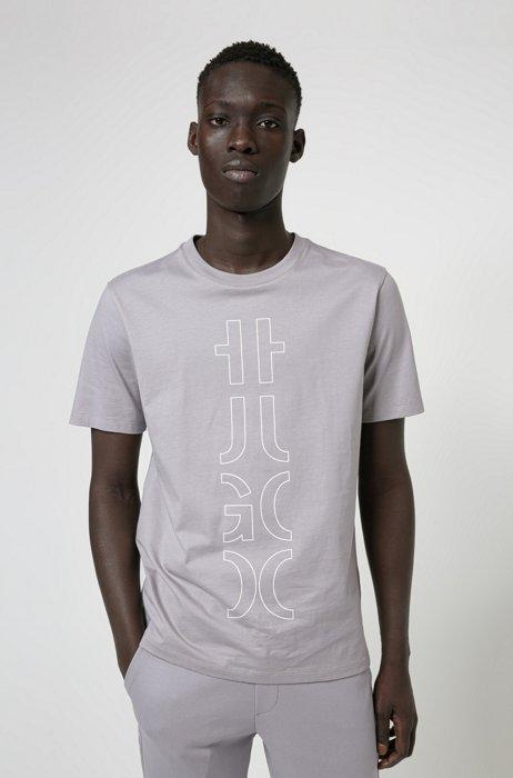 T-shirt in cotone biologico con logo troncato, Grigio chiaro