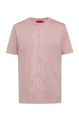 Organic-cotton T-shirt with cropped logo, light pink