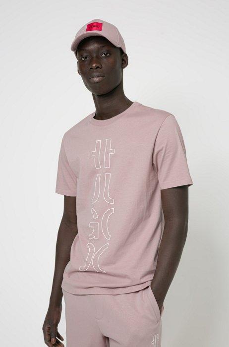 T-Shirt aus Bio-Baumwolle mit abgeschnittenem Logo, Hellrosa