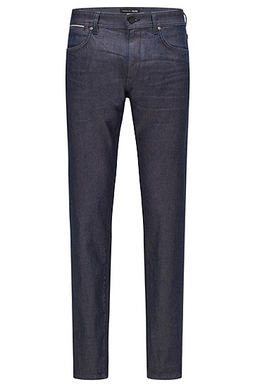 深蓝色布边牛仔布锥形牛仔裤,  410_Navy