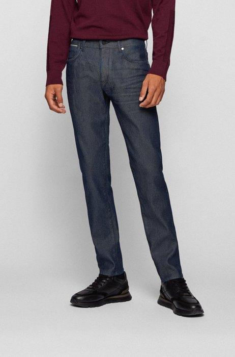 Tapered-fit jeans in dark-blue selvedge denim, Dark Blue