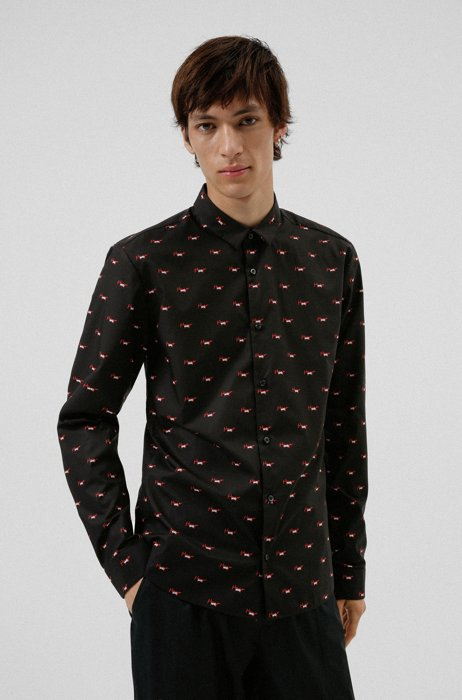 Extra-slim-fit shirt in printed cotton canvas, Black