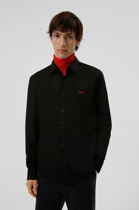 Slim-fit shirt with handwritten logo, Black