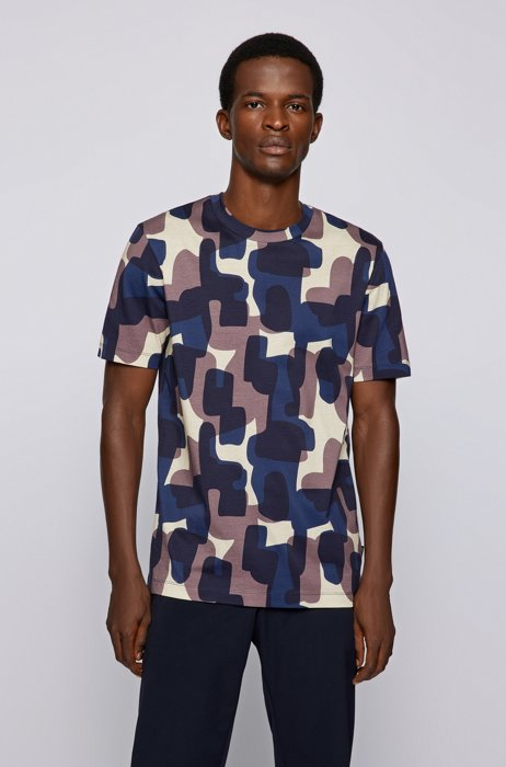 Crew-neck T-shirt in mercerised cotton with digital print, Blue Patterned