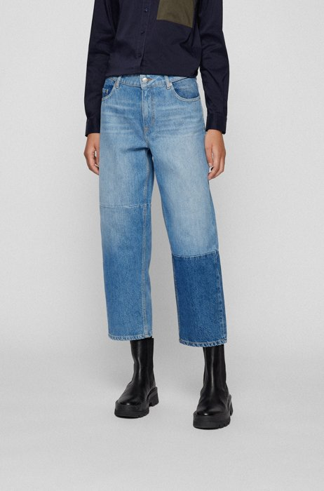 Regular-fit jeans in patched Italian denim, Blue
