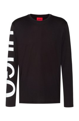 Relaxed-fit T-shirt in cotton with oversized sleeve logo , Black