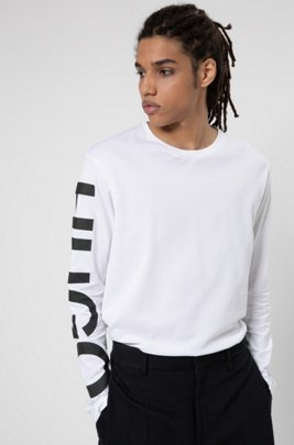 Relaxed-fit T-shirt in cotton with oversized sleeve logo , White